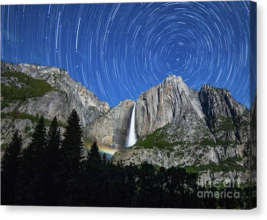 Moonbow And Startrails  Canvas Print
