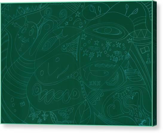 Moonfish Drawing Negative Green Chalk Canvas Print