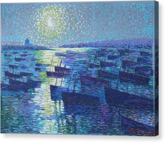 Moonlight And Fishing Boat Canvas Print