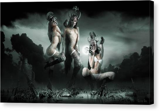 Carcass Canvas Print - Moonlight Bathing Valkyries by George Grie