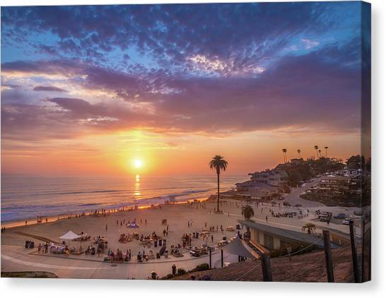 Moonlight Beach Sunset Canvas Print