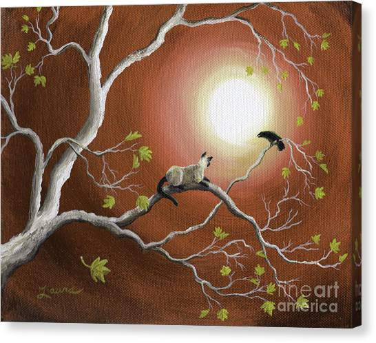 Siamese Canvas Print - Moonlight Conversation In Sepia by Laura Iverson
