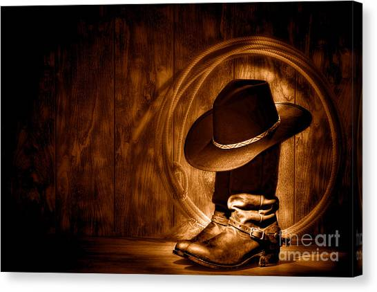 Cowboy Boots Canvas Print - Moonlight Cowboy Boots - Sepia by Olivier Le Queinec