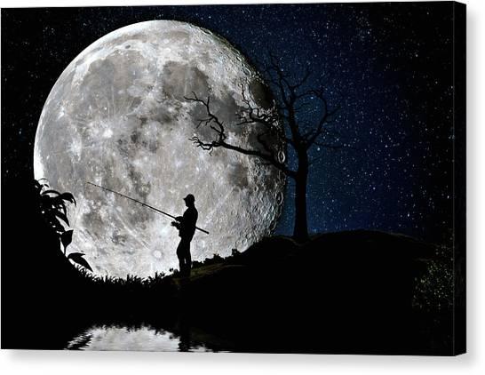 Moonlight Fishing Under The Supermoon At Night Canvas Print
