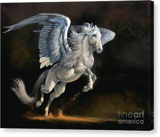 Pegasus Canvas Print - Moonlight Magic by Jeanne Newton Schoborg