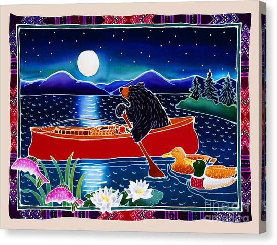 Canoes Canvas Print - Moonlight On A Red Canoe by Harriet Peck Taylor