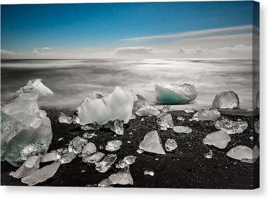 Vatnajokull Glacier Canvas Print - Moonlight On Diamond Beach by Alisha Anderson