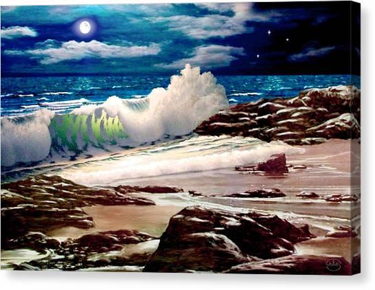 Moonlight On The Beach Canvas Print