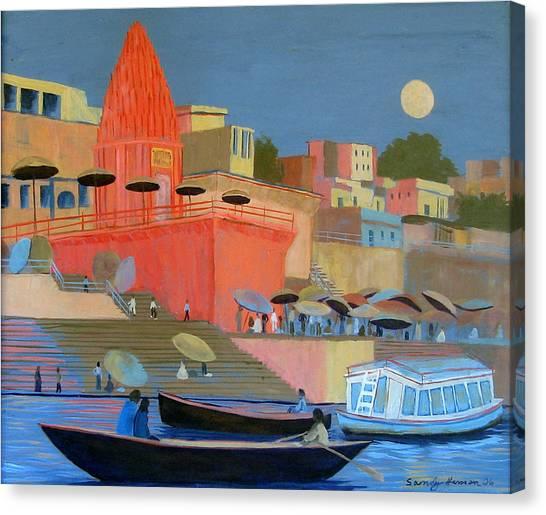 Moonlight On The Ghats Canvas Print by Art Nomad Sandra  Hansen