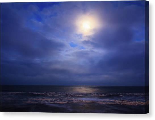 Moonlight On The Ocean At Hatteras Canvas Print