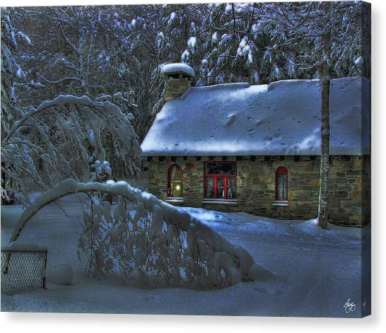 Moonlight On The Stonehouse Canvas Print