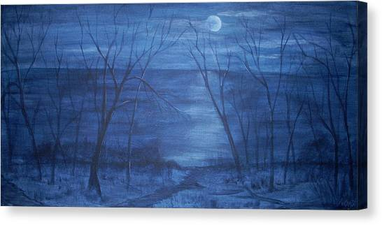 Moonlight On The Water Canvas Print by Nora Niles