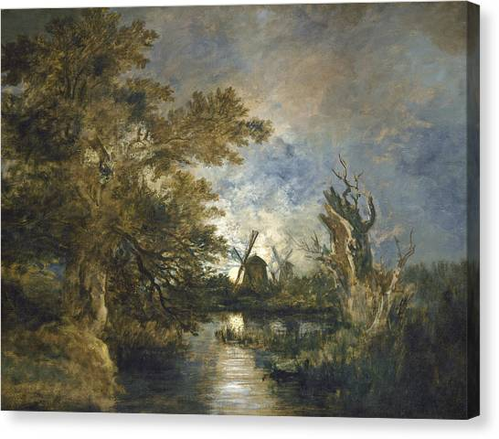 Moonlight On The Yare Canvas Print