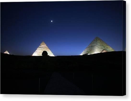 Moonlight Over 3 Pyramids Canvas Print