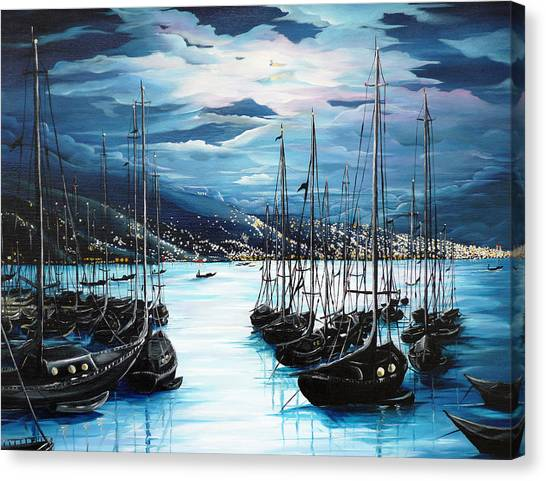 Marinas Canvas Print - Moonlight Over Port Of Spain by Karin  Dawn Kelshall- Best