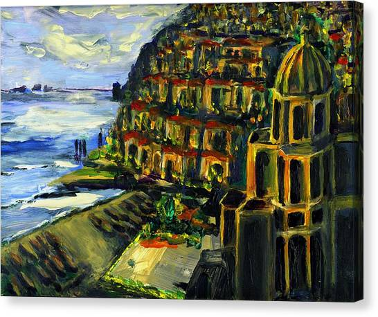 Moonlight Over Positano Canvas Print by Randy Sprout