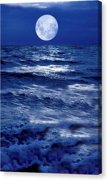 Moonlight Over The Ocean Canvas Print