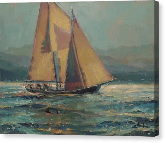 Silver Moonlight Canvas Print - Moonlight Sail by Steve Henderson