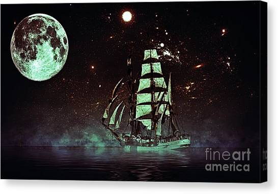 Moonlight Sailing Canvas Print