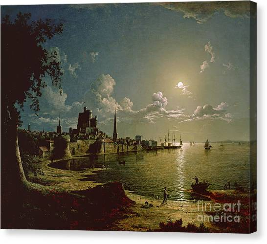 Angling Canvas Print - Moonlight Scene by Sebastian Pether