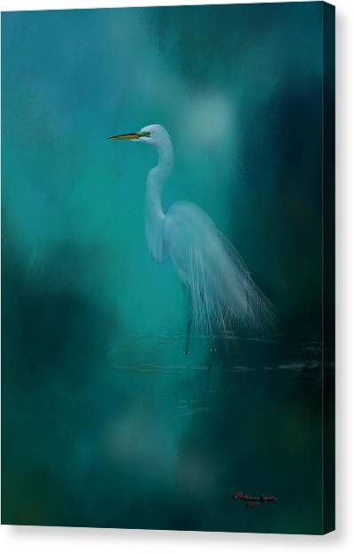 Egrets Canvas Print - Moonlight Serenade by Marvin Spates