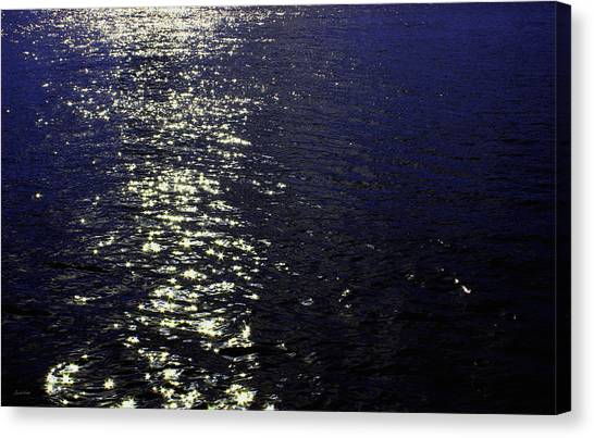 Moonlight Canvas Print - Moonlight Sparkles On The Sea by Linda Woods