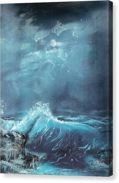 Moonlight Surf Canvas Print by Raymond Doward