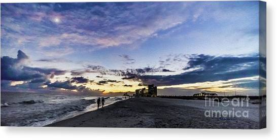 Moonlit Beach Sunset Seascape 0272c Canvas Print
