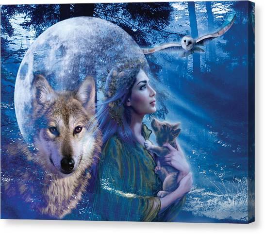 Wolf Moon Canvas Print - Moonlit Brethren Variant 1 by Andrew Farley