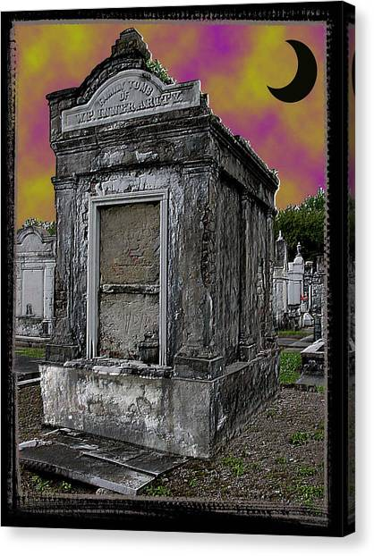 Moonlit Cemetary Canvas Print by Linda Kish