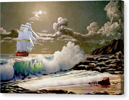 La Clippers Canvas Print - Moonlit Clipper by Ron Chambers