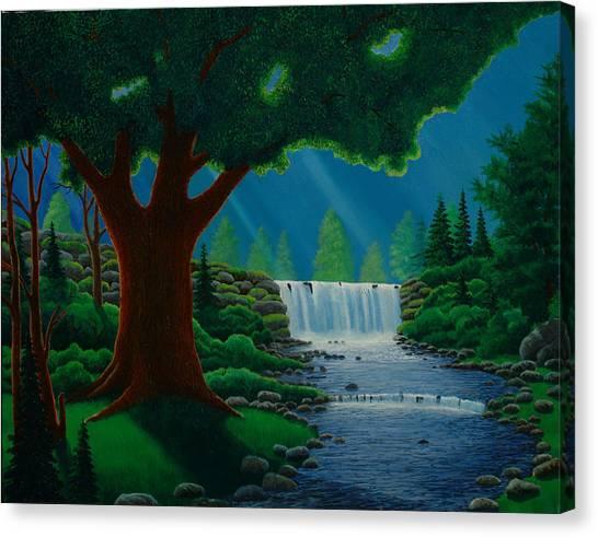 Moonlit Falls Canvas Print by Mark Regni