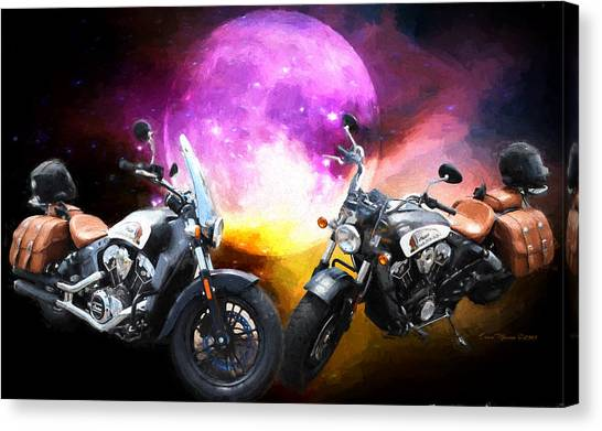 Moonlit Indian Motorcycle Canvas Print