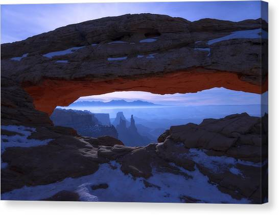 Winter Landscape Canvas Print - Moonlit Mesa by Chad Dutson