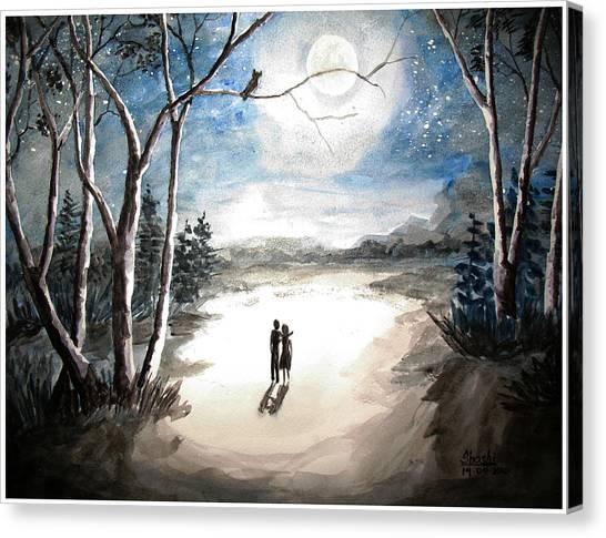Moonlit Night Sweet Memory Canvas Print by Shashikanta Parida