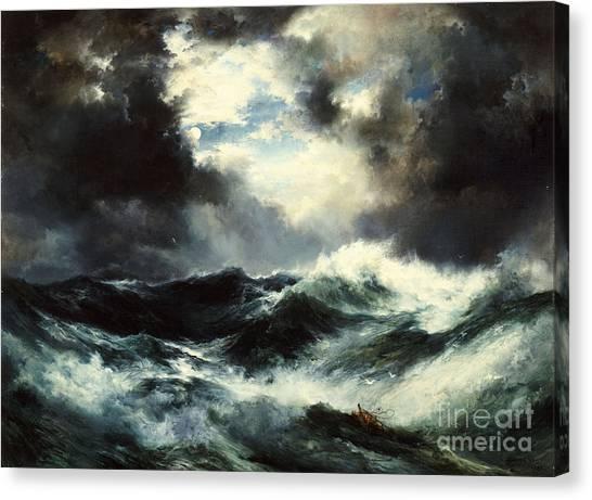 Moran Canvas Print - Moonlit Shipwreck At Sea by Thomas Moran