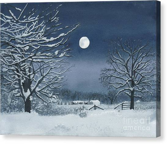 Moonlit Snowy Scene On The Farm Canvas Print