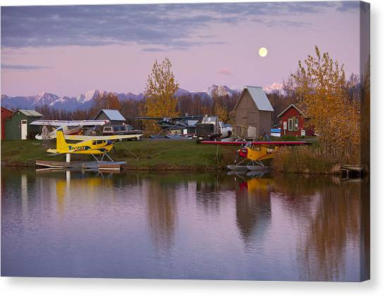 Cessnas Canvas Print - Moonrise At Lake Hood by Tim Grams