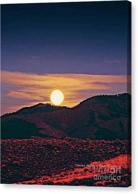Moonrise In Northern New Mexico  Canvas Print
