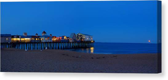 Moonrise In Old Orchard Beach Canvas Print