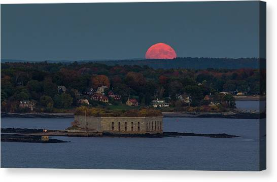Moonrise Over Ft. Gorges Canvas Print