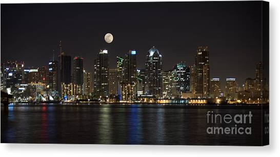 Moonrise Over San Diego Canvas Print
