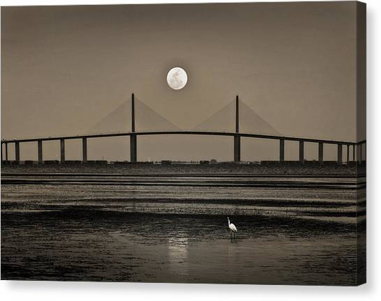 Moonrise Over Skyway Bridge Canvas Print