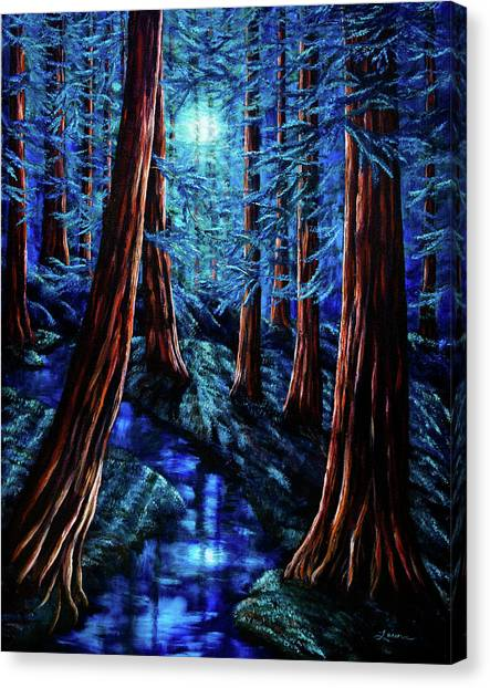 Redwood Forest Canvas Print - Moonrise Over The Los Altos Redwood Grove by Laura Iverson