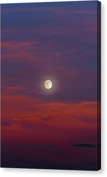 Canvas Print featuring the photograph Moonrise, Sunset by Jason Coward