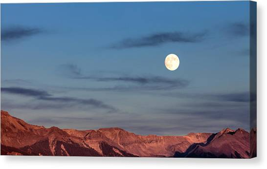 Canvas Print featuring the photograph Moonrise With Afterglow by Denise Bush