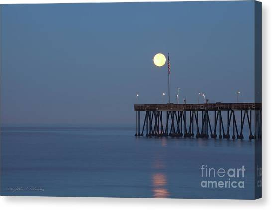 Moonset At The Ventura Pier Canvas Print