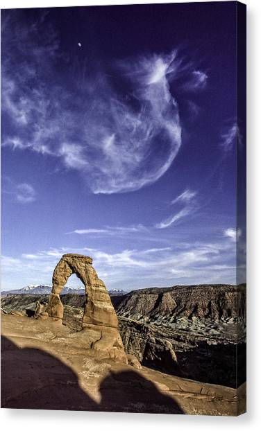 Moonset Delicate Arch Canvas Print