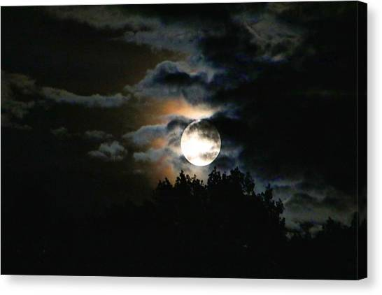 Moonset In The Clouds 2 Canvas Print