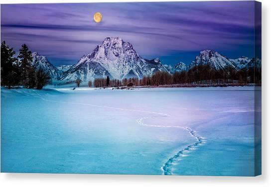 Moonset On Moran Canvas Print